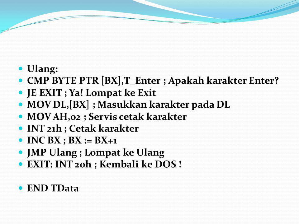 Ulang: CMP BYTE PTR [BX],T_Enter ; Apakah karakter Enter JE EXIT ; Ya! Lompat ke Exit. MOV DL,[BX] ; Masukkan karakter pada DL.